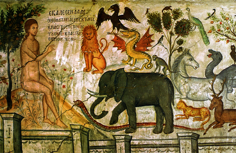 Adam geeft namen (15e eeuws fresco).